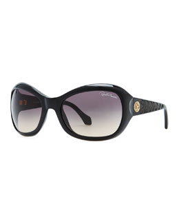 Roberto Cavalli Aldibah Square Sunglasses with Serpent Embellishment, Black