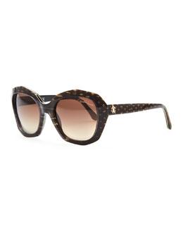 Roberto Cavalli Alathfar Angled Snake-Print Sunglasses, Brown