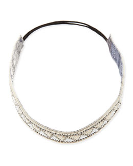 Deepa Gurnani Geometric-Beaded Headband, Ivory
