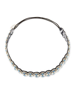 Deepa Gurnani Scalloped Crystal Headband, Black/Cloud