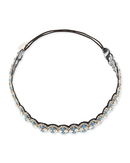 Scalloped Crystal Headband, Black/Cloud