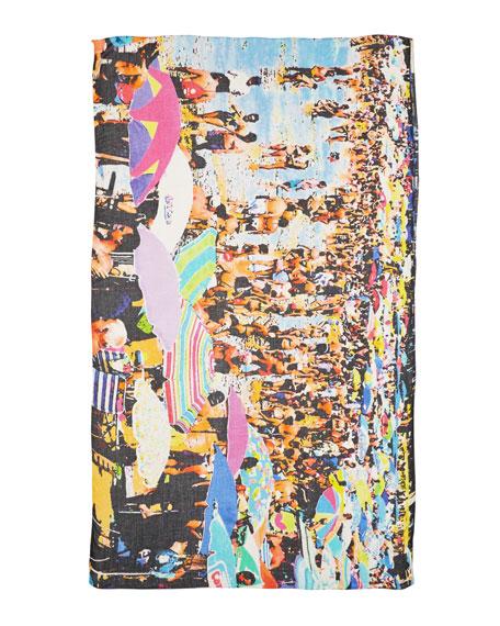 Wipeout Beach-Print Scarf, Blue/Multi