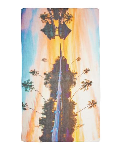 Beach-Print Scarf, Tangerine/Multi