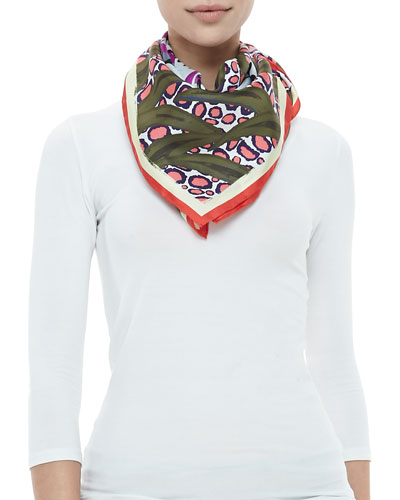 Kenzo New Tiger-Head Silk Logo Scarf, Olive/Multi