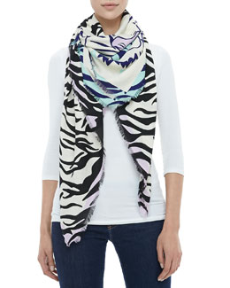 Kenzo New Tiger Head & Stripes Scarf, Ivory/Black