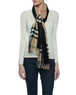 Burberry Check Cashmere Scarf with Rabbit Trim, Camel
