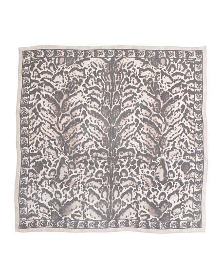 Animal-Print Silk Chiffon Scarf, Powder/Black
