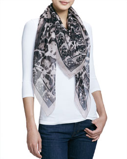 Alexander McQueen Animal-Print Silk Chiffon Scarf, Powder/Black