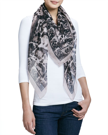 Animal-Print Silk Chiffon Scarf, Powder/Black