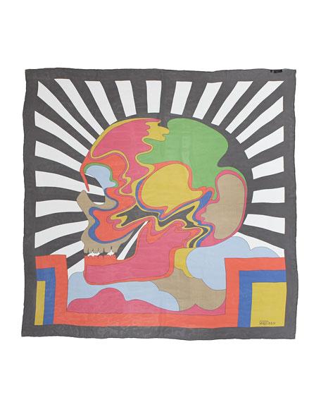 Psychedelic Big-Skull Square Scarf