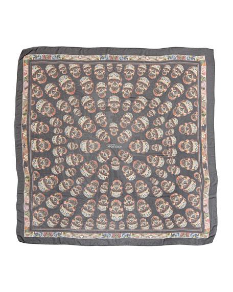 Patchwork Skull-Print Square Silk Scarf