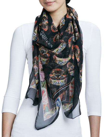 Patchwork Skull-Print Square Silk Scarf