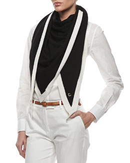 Loro Piana Scialle Summer Stole, Black/White