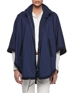 Loro Piana Reversible Vail Windstorm Cape, Dark Blue