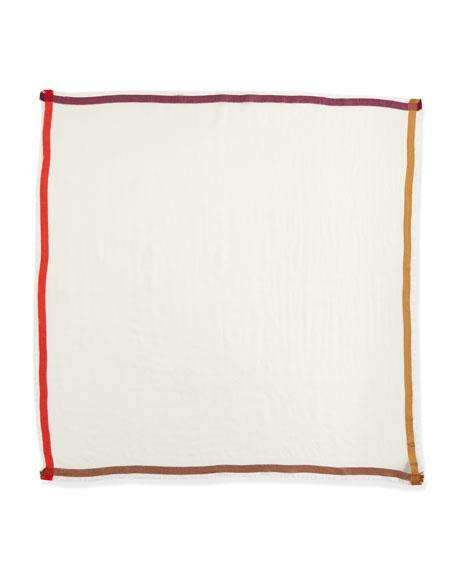 Quadrata Color-Bordered Square Scarf, White