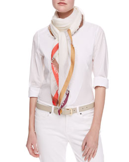 Loro Piana Quadrata Color-Bordered Square Scarf, White