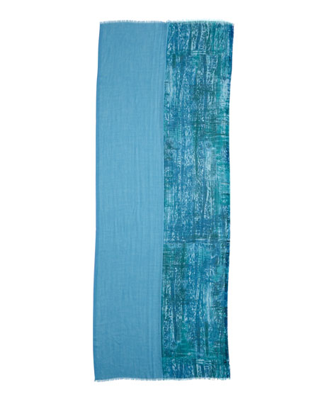 Printed & Solid Blocked Scarf, Blue/Green