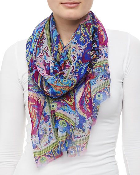 Dhely Silk Paisley Scarf, Black