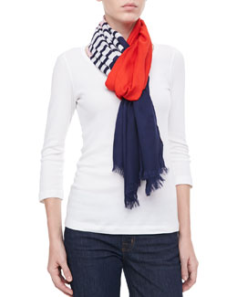 kate spade new york striped colorblocked scarf
