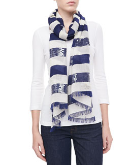 kate spade new york port sequined-stripe scarf, navy