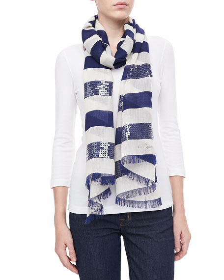 port sequined-stripe scarf, navy