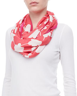 kate spade new york festive flower infinity scarf, red/pink