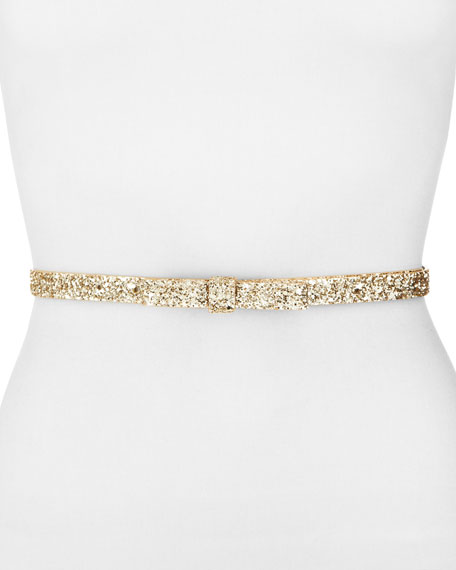 glitter bow belt, gold/silver