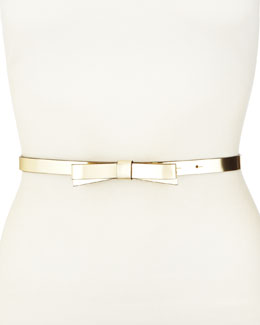 kate spade new york skinny bow belt, gold