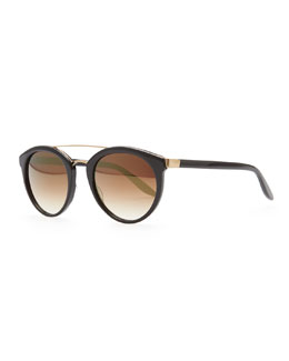 Barton Perreira Dalziel Round Sunglasses with Metal Bar, Black/Gold