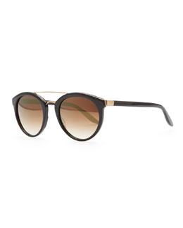 Barton Perreira Dalziel Round Sunglasses with Metal Bar, Black/Gold