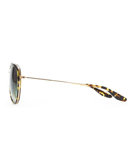 Rio Aviator Sunglasses, Brown/Green