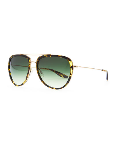 Barton Perreira Rio Aviator Sunglasses, Brown/Green