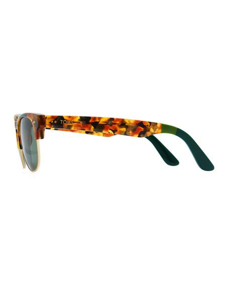 toms eyewear lobamba half frame sunglasses tortoise