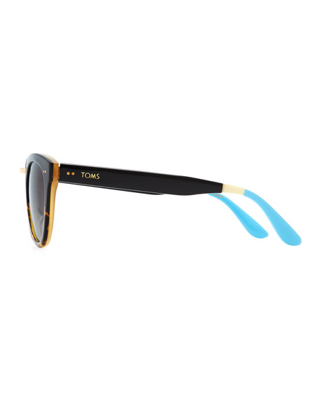 Yvette Tortoise Fade Cat-Eye Sunglasses, Black