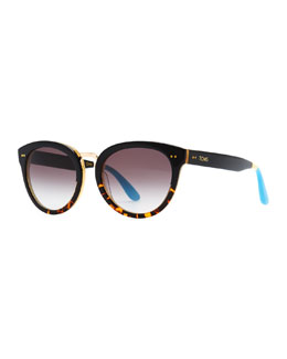 TOMS Eyewear Yvette Tortoise Fade Cat-Eye Sunglasses, Black