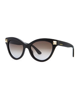 Valentino Rockstud-Temple Cat-Eye Sunglasses, Black