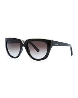 Valentino V-Notched Sunglasses, Black