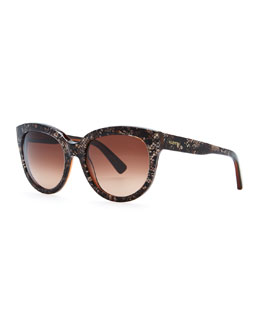 Valentino Pearly Lace-Frame Sunglasses, Black/Multi