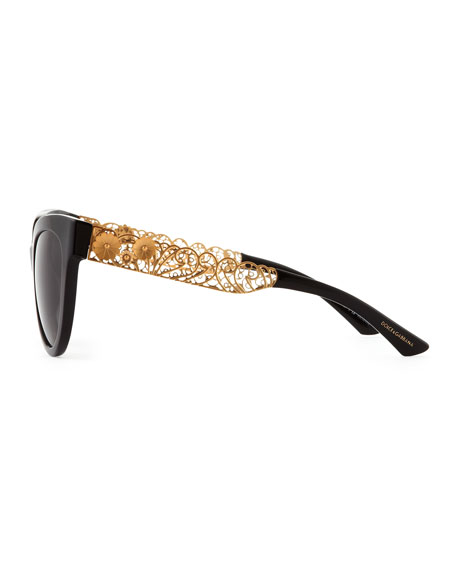 Dolce Gabbana Filigree Sunglasses  dolce gabbana cat eye sunglasses with golden filigree arms