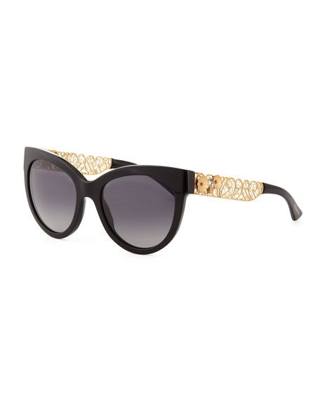 Dolce Gabbana Cat Eye Sunglasses  dolce gabbana cat eye sunglasses with golden filigree arms