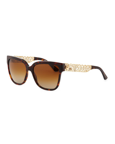 Square Sunglasses with Golden Filigree Arms