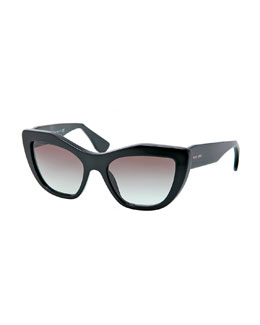 Miu Miu Angled Cat-Eye Sunglasses, Black