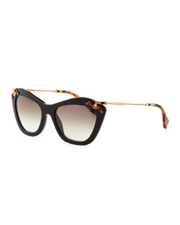 Miu Miu Crystal-Temple Cat-Eye Sunglasses, Black