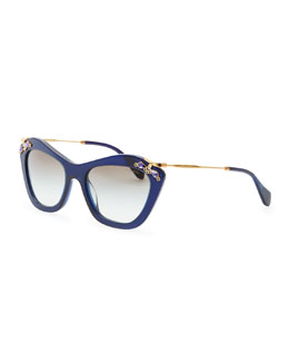 Miu Miu Crystal-Temple Cat-Eye Sunglasses, Blue