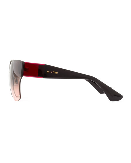 Wide-Temple Sunglasses, Red/Black