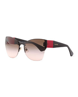 Miu Miu Wide-Temple Sunglasses, Red/Black