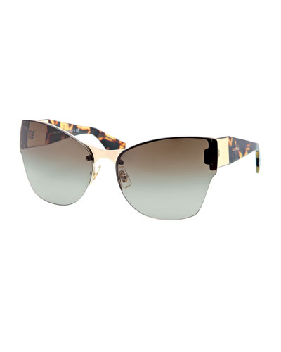 Miu Miu Wide-Temple Havana-Arm Sunglasses
