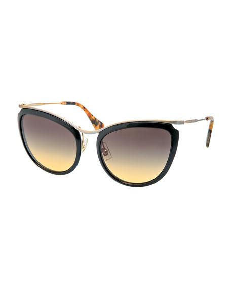 Brushed Metal/Plastic Round Cat-Eye Sunglasses, Black
