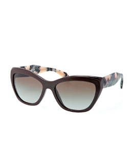 Prada Wide Tortoise-Arm Sunglasses, Brown/Multi