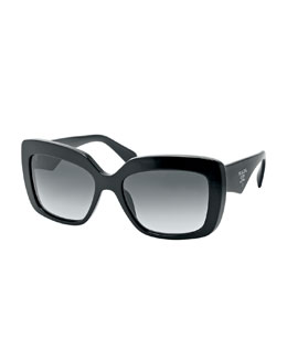 Prada Square-Frame Logo Triangle Sunglasses, Black